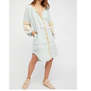 Dresses & Skirts - Boho Long Embroidered Sleeve Button Up Dress